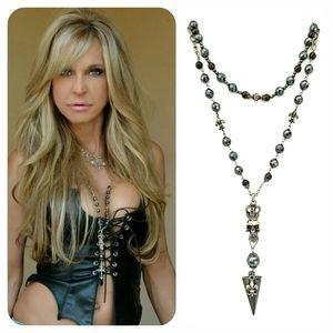 Kinley Sterling Silver Hematite Skull Necklace